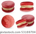 Set pink macaroon on white backround. 3d realistic almond cookies. Vector illustrations. 53169704