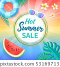 Hot Summer Sale Background Tropical Leaves Vanilla 53169713