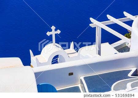 Sea and white church, Santorini, Greece 53169894