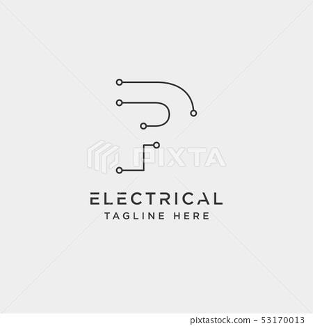 connect or electrical p logo design vector icon 53170013
