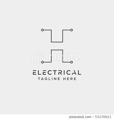 connect or electrical h logo design vector icon 53170021
