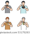 vector set of man eat noodle 53170263