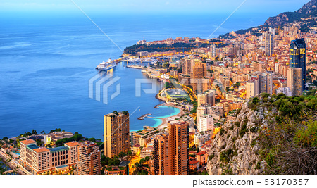 Panoramic view of Monaco and Monte Carlo 53170357