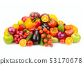 Lots fruits and vegetables isolated on white 53170678