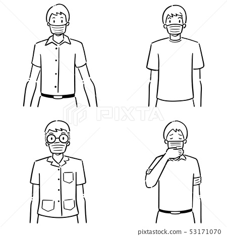 vector set of people using medical protective mask 53171070