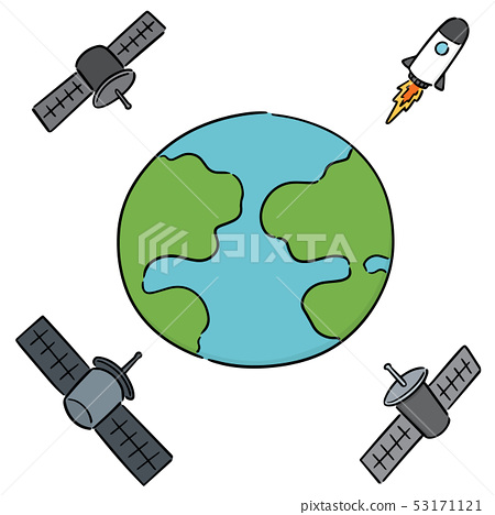 vector set of earth, rocket and satellite 53171121
