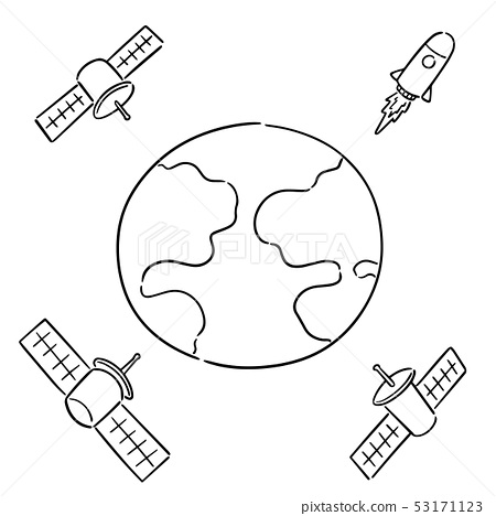 vector set of earth, rocket and satellite 53171123