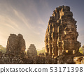 Day view of ancient temple Bayon Angkor with stone faces Siem Reap, Cambodia 53171398