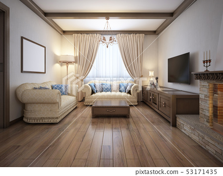 Living room in a rustic style with soft furniture 53171435
