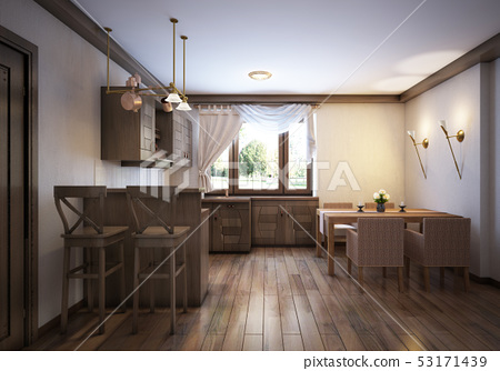 Kitchen Rustic Style With A Dining Table And Stock Illustration 53171439 Pixta