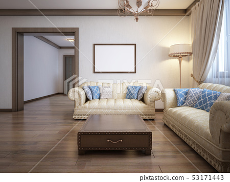 Living room in a rustic style with soft furniture 53171443