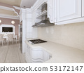 Kitchen-dining room in classic style, in postel 53172147