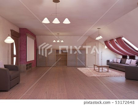 Home cinema in the attic in a modern style in 53172648