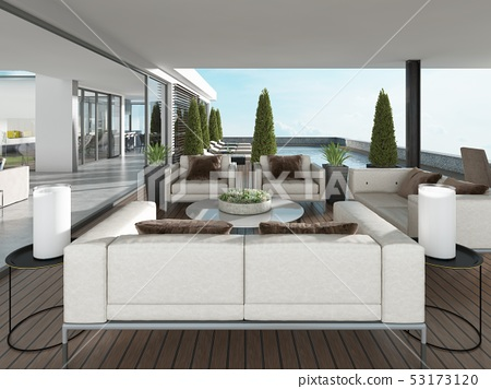Covered terrace with modern furniture and 53173120