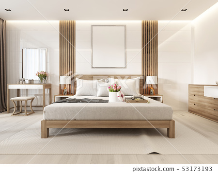 Modern light bedroom with wooden furniture in 53173193