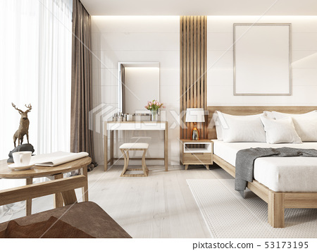Modern Light Bedroom With Wooden Furniture In Stock Illustration 53173195 Pixta