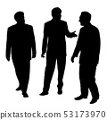 Group of three businessmen walking and talking 53173970