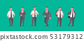 businessmen in formal wear standing different poses smiling male cartoon characters business men 53179312