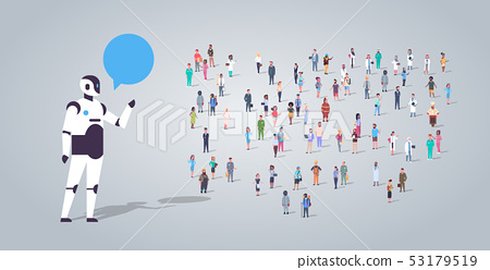people group near chatbot roboot chat bubble communication different occupation employees mix race 53179519