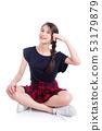 Full length of pretty asian female teenager 53179879