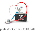 Stethoscope in shape of heart 3d illustration. Stethoscope, heartbeat sign 53181848
