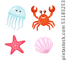 Summer Character, Red Crab and Jellyfish Starfish 53183253