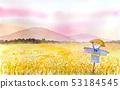 허수아비있는 시골 풍경 수채화 53184545
