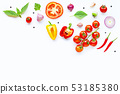 Various fresh vegetables and herbs on white. 53185380