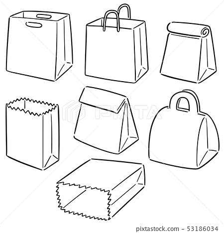 vector set of paper bag 53186034