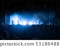 Silhouettes of crowd, group of people, cheering in 53186488