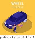 Isometric Banner Wheel Change Service in Garage 53186510