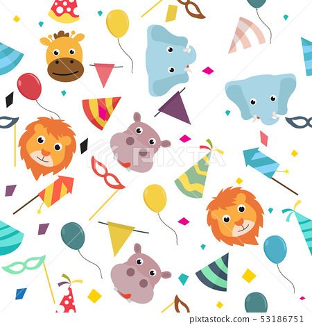animals carnival Colorful party pattern 53186751