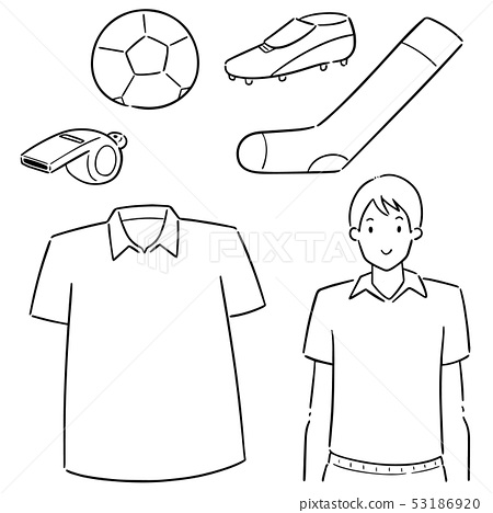 vector set of soccer player and soccer equipment 53186920