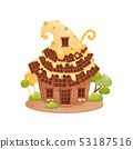 Gingerbread house with a high roof of waffles. Vector illustration on white background. 53187516