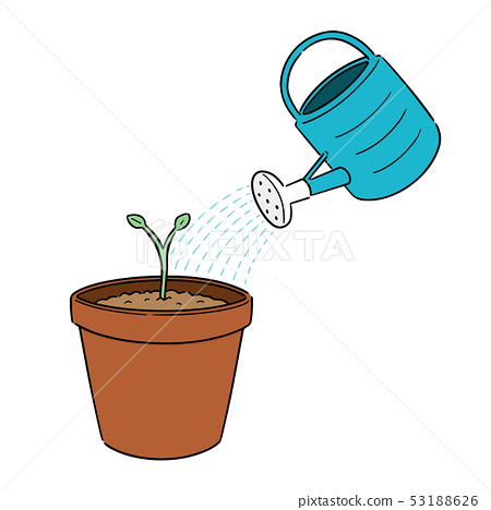 vector set of watering can and plant 53188626