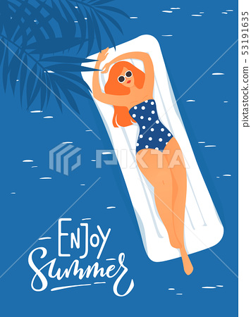 Vector summer illustration with young woman having rest in a swimming pool. 53191635