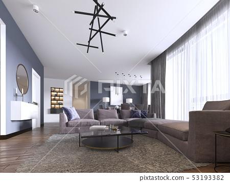 Colorful modern apartments with big corner sofa - Stock ...