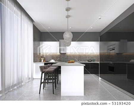 Contemporary kitchen with a black glossy facade 53193420