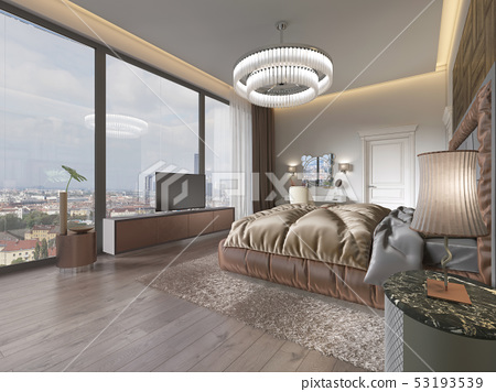 Interior of brown and beige cozy bedroom. 53193539