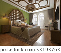 East bedroom in Arab style, wooden headboard and 53193763