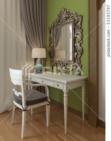 Dressing table with a mirror in the bedroom, 53193787