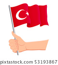 Hand holding and waving the national flag of Turkey. Fans, independence day, patriotic concept 53193867