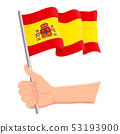 Hand holding and waving the national flag of Spain. Fans, independence day, patriotic concept 53193900