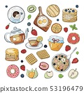 Set of morning breakfast elements isolated on 53196479