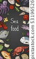 Vertical banner with different seafood on 53196526