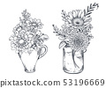 Bouquets with hand drawn flowers and plants in vases jars. 53196669