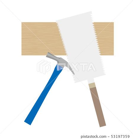 일요일 목수 도구 톱 · 판 · 망치의 일러스트 53197359