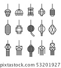 hanging lamp vector, Asian traditional lamp set. 53201927
