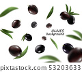 Isolated olives in the air. Falling black olive fruits isolated on white background 53203633