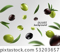 Green and black olives isolated on white background with clipping path, close-up 53203657